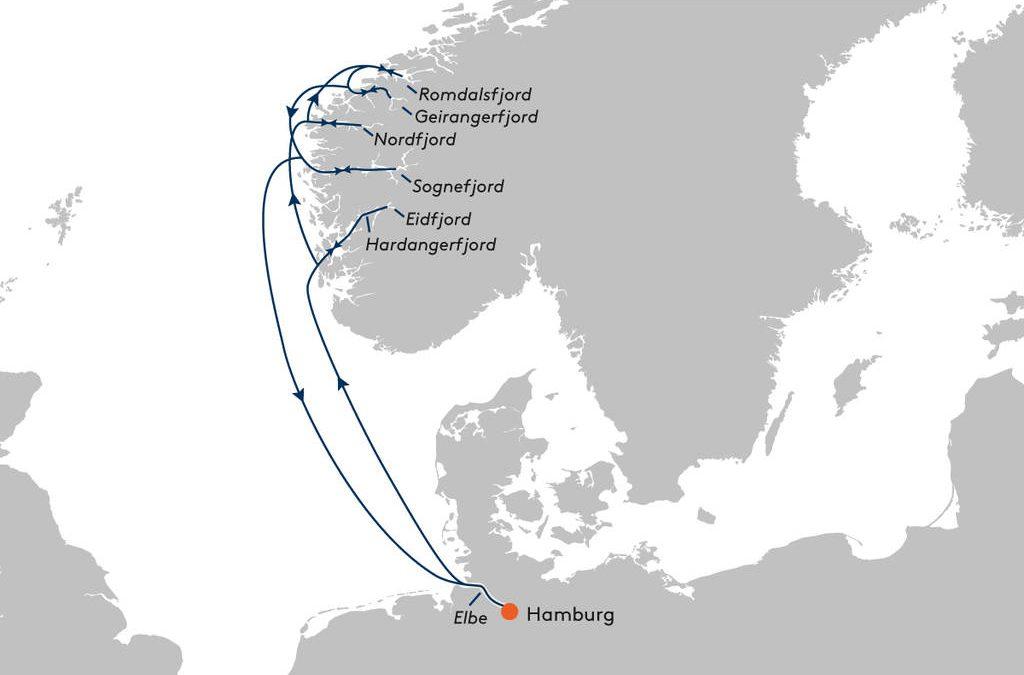 2020-08 MS EUROPA 2 – Fjordcruise (Fotos just click auf die Reiseroute)